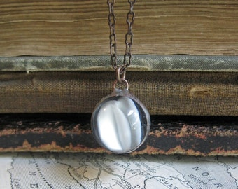 White Marble Necklace Glass Pendant Cat's Eye Vintage Marble Unique Repurposed Jewelry