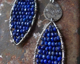 Indigo Blue Lapis Mosaic Earrings, Lapis Lazuli Earrings, Sterling Silver and Lapis Earrings, Woven Mosaic Earrings.