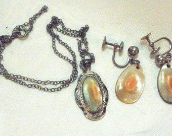 Vintage Art Nouveau Sterling Silver Blister Pearl Pendant, Necklace & Earrings