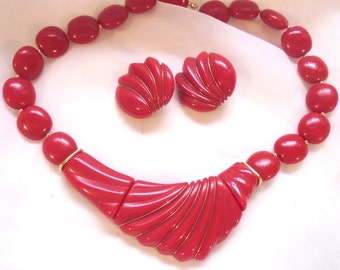 Vintage Trifari Red, Acented with Goldtone Wire, Necklace Set, Plastic, Lucite