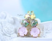 Vintage Glass Dangles Round Set Stones 1 Ring 23mm Earring Component Brass Prong Settings AB Crystal Iris & Powder Pink - 2