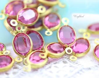 Rose Pink 8x6mm Vintage Oval Swarovski Stone in 2 Rings Brass Channel Links - 4