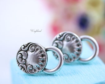 Rococo Style Earring Posts with Loop Sterling Silver Antique Plated Ear Studs Earring Finding Round - 2