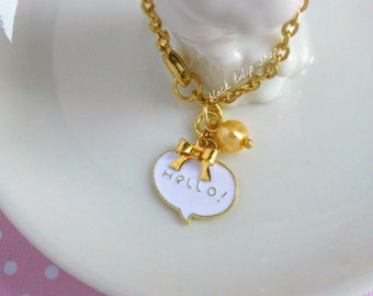 Planner Charm Hello Speech Bubble Enamel Charm Bag Charm Gold Tone Bow Glass Pearl Zipper Charms Retro Accessories