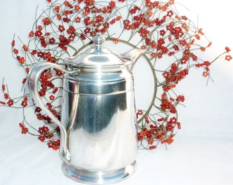 Reed and Barton Silver Soldered Hotel Coffee Pot 64 Ounce Marked A Sheraton Hotel Art Deco Vibe Raised Center Knob Top Hinged