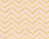 Pink Metallic Fabric, Sleek Chevron Pearlized, Blush, Pink, Gold, Metallic, Michael Miller, Baby Girl, Teen, Woman, In Custom Cuts