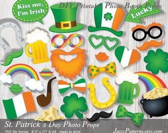 St. Patrick's Day Photo Booth Props printable, leprechaun beard, top hat, pot of gold, clover, horseshoe, instant download PP022