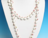 Flapper Length Necklace Pink Flowers White Beads 42 Inches Long Vintage