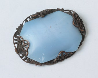 Pale Blue Satin Glass Brooch Filigree Setting Antique