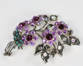 Floral Design Rhinestone Avon Brooch  Pink Purple Teal Clear Stones Vintage