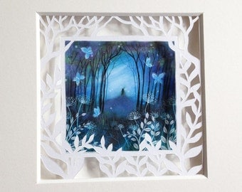 Tiny paper cut art prints by Amanda Clark.  Indigo Night.  In a mount, ready to frame.