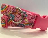 Pink Dog Collar, In M, L, XL, Rainbows and Hearts Dog Collar