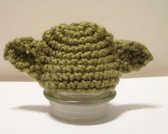 Holiday Elf Buddy Yoda Hat - Crochet Holiday Dress Up Hat for Decorative Elf