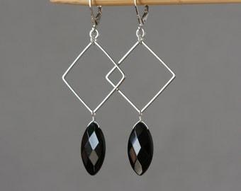 Black Marquise Square Charms Modern Earrings, Birthday Gift for Wife, Long Black Earrings, Geometrical Earrings, Gift for Mom, Spring Trend