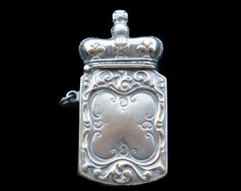 French 19th Century Vesta Match Safe Antique Silver Plated Crown Fleur de Lys