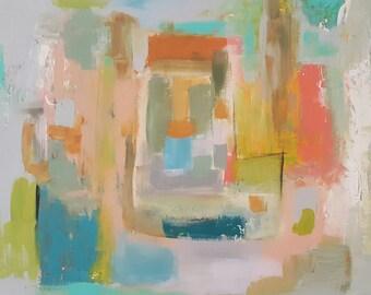 "Original Painting , 20 x 20, Folk art, modern, abstract, minimalist, ""Open Door"""