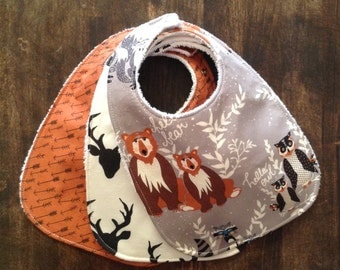 Baby Bib-Woodland-Bib Boy-Cute Baby Bib-Fox-Deer-Bear-Handmade Bibs-Baby Shower Gift-Newborn Baby Gift-Bib & Burp Cloth Set-Woodland Bib Set