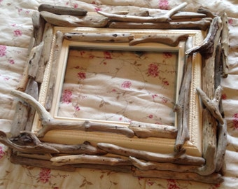 Driftwood frame handcrafted rectangle Lake Superior coastal natural