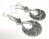 Earrings, Silver Earrings, Swarovski Austrian Crystals, Silver, Dramatic Earrings, Spiritcatdesigns