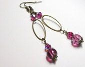 Fuchsia Earrings, Antique Brass Earrings, Fuchsia Dangle Earrings, Spiritcatdesigns
