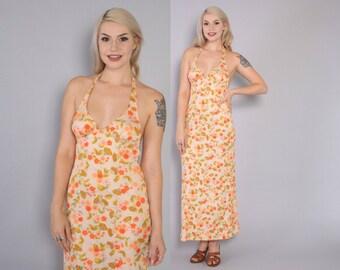 Vintage 70s Maxi DRESS / 1970s Pastel Peach Floral Print HALTER  Dress xs - s