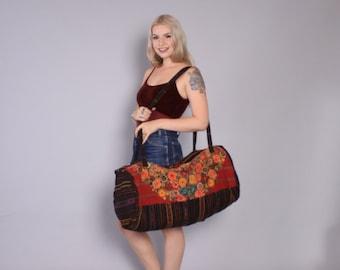 Vintage Travel BAG / Oversized Guatemalan Huipil Embroidered WEEKENDER Duffle Bag
