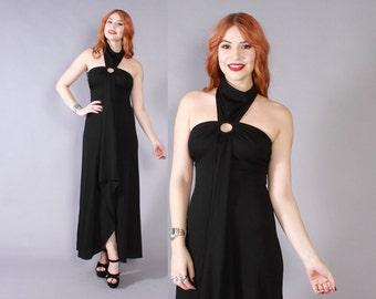 Vintage 70s Maxi DRESS / 1970s Glam Draped Black Cut-Out Halter Long Dress XS