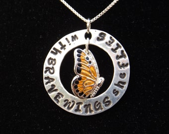 With Brave Wings She Flies necklace, Inspirational jewelry, Inspirational necklace, Graduation necklace, Gifts for Grads