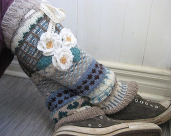 Anelmaiset flower knee high hand knit legwarmers size medium - ready to ship