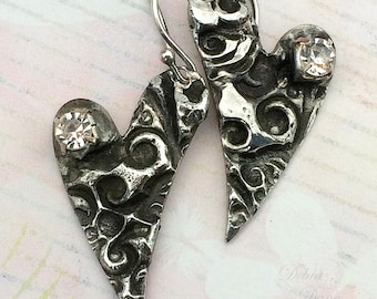 Silver Whimsical Heart Earrings, Sterling Earwires, Hand Stamped