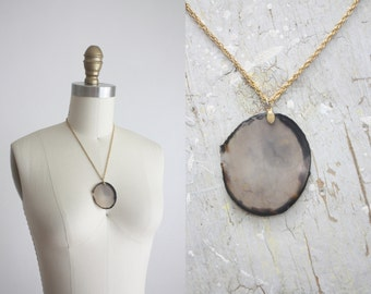 vintage geode slice necklace