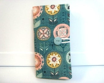 12 - 38 Slot Card Loyalty Card Organizer, Business Card Holder  Credit Card Wallet  Turquoise Medallion Floral