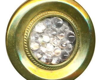"""Button--Mid-19th C. Victorian Glass Jewel """"Reflector"""" with Bumps"""