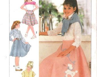 Simplicity 7878 UNCUT Girls Costume Poodle or Western Skirt with Appliques Sewing Pattern  Halloween Costume
