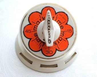 Vintage Mark Time Kitchen Timer Red White Mechanical 60 Mins