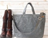 Waxed Canvas bag, Carry all Diaper bag GRAY, Messenger bag, Tote, Men messenger, Weekender, Work bag, Travel bag, Zipper 5 Pockets