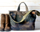 Camouflage Waxed Canvas Tote,Carry all, Diaper bag, Army canvas  / Messenger bag / Weekender /Men messenger /Travel bag/Zipper and 5 Pockets