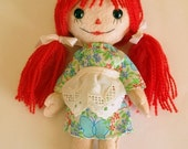 On SALE for short time Raggedy Ann Small Felt Pocket Doll