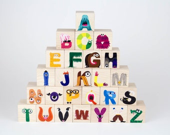 Modern Monster ABC Blocks - alphabet kid block toy