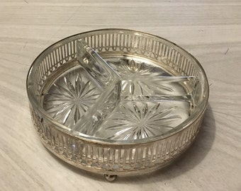 Silver Plated Divided Relish Serving Dish SHEFFIELD With Glass Insert