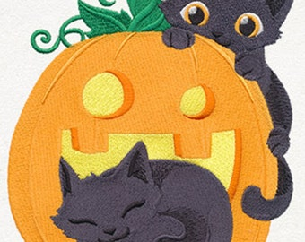 Cat-o-Lantern Embroidery Terry Hand Towel