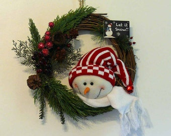 Snowman Let It Snow Grapevine Wreath Wall Hanging