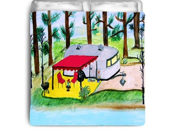 Air stream camper by the lake comforter from my art
