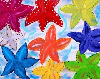 Colorful Starfish Art Print