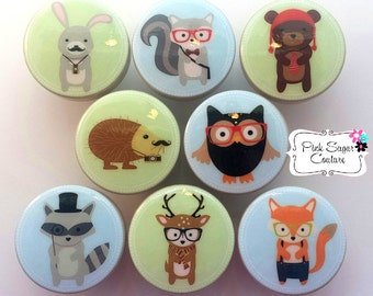 HIPSTER WOODLAND ANIMALS Friends knobs M2M bedding Forest Friends Kids Nursery drawer pulls ... so cute!