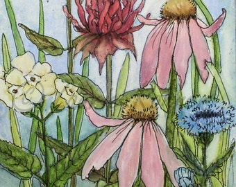 Botanical Garden Flowers Original Painting Watercolor on Panel