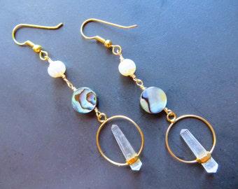 Quartz Crystal Point Hoop Earrings Abalone Pearl Paua Shell Chandelier Gold Mint Clear Quartz Long Dangle Natural Jewelry Azeetadesigns