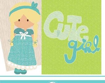 Cute girl word clipart - COMMERCIAL USE OK