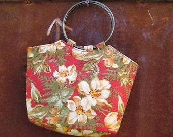 Brass Ring Hawaiian Print Bag // Small purse // Floral handbag