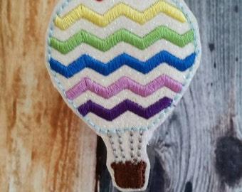 Chevron Hot Air Balloon Badge Reel - Retractable Badge Reel - name tag holder - ID holder - gift for teacher - hot air balloon